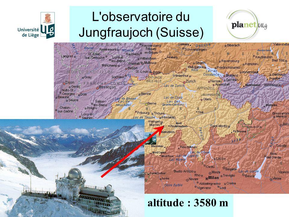 L'observatoire du Jungfraujoch (Suisse) http://planet.ulg.ac.be altitude : 3580 m