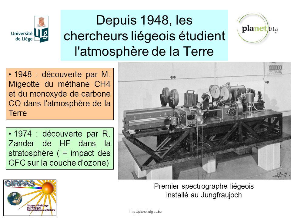 Depuis 1948, les chercheurs liégeois étudient l'atmosphère de la Terre http://planet.ulg.ac.be 1948 : découverte par M. Migeotte du méthane CH4 et du