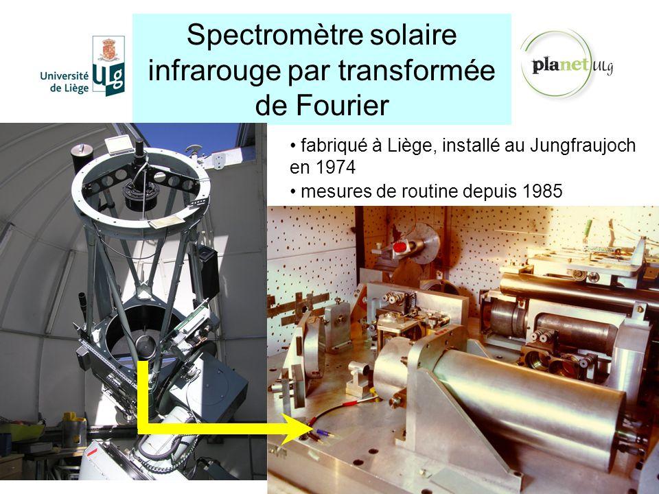 Spectromètre solaire infrarouge par transformée de Fourier http://planet.ulg.ac.be fabriqué à Liège, installé au Jungfraujoch en 1974 mesures de routi