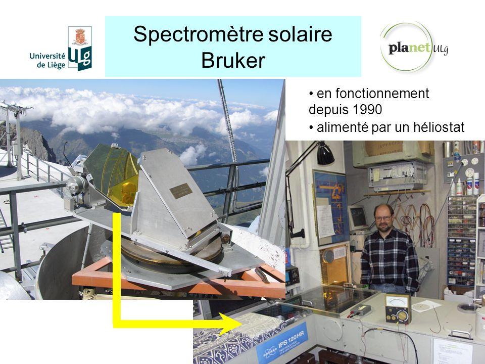 Spectromètre solaire Bruker http://planet.ulg.ac.be en fonctionnement depuis 1990 alimenté par un héliostat