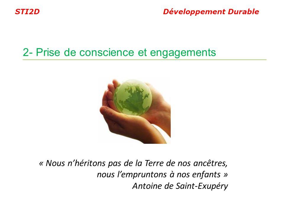 STI2D Développement Durable « Nous nhéritons pas de la Terre de nos ancêtres, nous lempruntons à nos enfants » Antoine de Saint-Exupéry 2- Prise de co