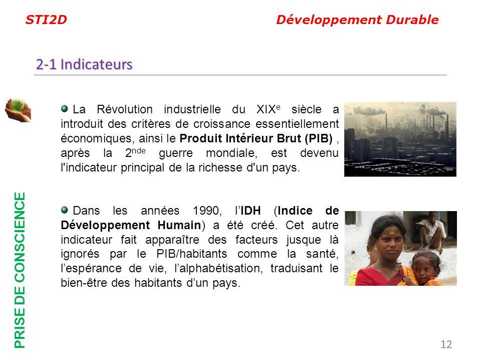 STI2D Développement Durable PRISE DE CONSCIENCE 2-1 Indicateurs La Révolution industrielle du XIX e siècle a introduit des critères de croissance esse