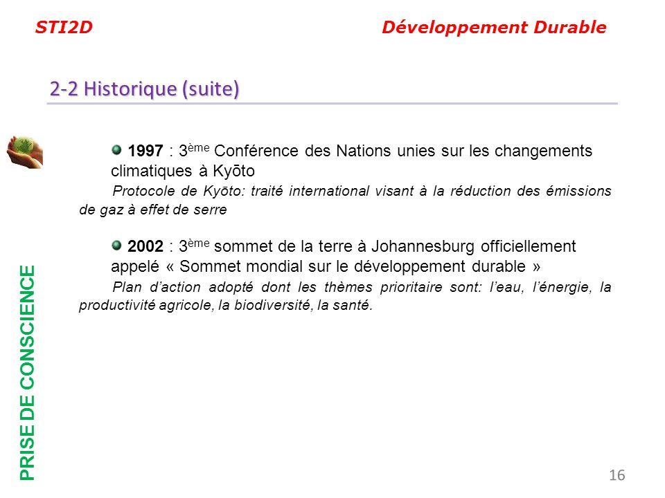 STI2D Développement Durable PRISE DE CONSCIENCE 1997 :3 ème Conférence des Nations unies sur les changements climatiques à Kyōto Protocole de Kyōto: t