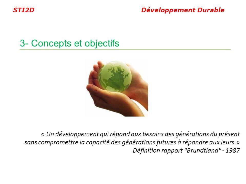 STI2D Développement Durable « Un développement qui répond aux besoins des générations du présent sans compromettre la capacité des générations futures