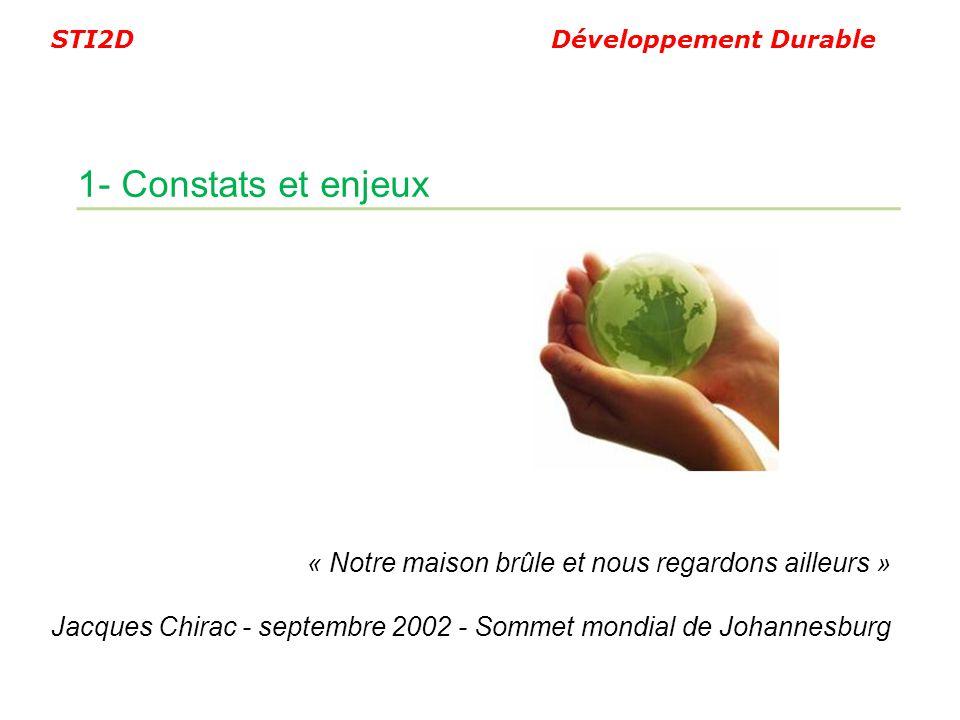 STI2D Développement Durable « Notre maison brûle et nous regardons ailleurs » Jacques Chirac - septembre 2002 - Sommet mondial de Johannesburg 1- Cons