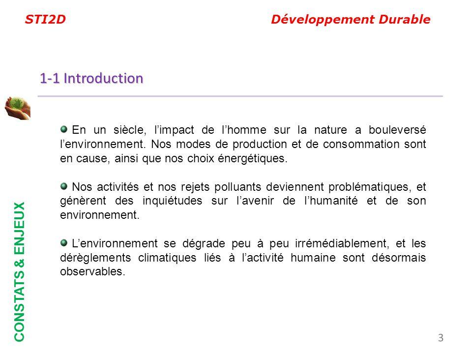 STI2D Développement Durable En un siècle, limpact de lhomme sur la nature a bouleversé lenvironnement. Nos modes de production et de consommation sont