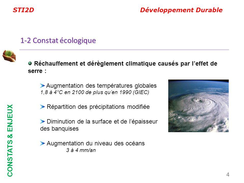 STI2D Développement Durable CONSTATS & ENJEUX Réchauffement et dérèglement climatique causés par leffet de serre : Augmentation des températures globa