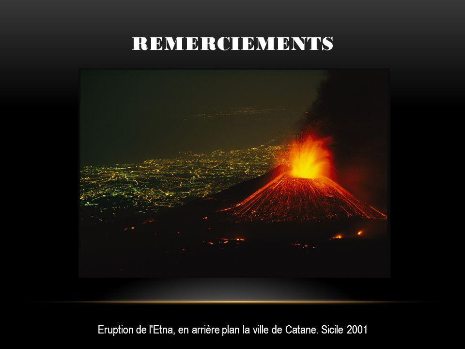 REMERCIEMENTS Eruption de l'Etna, en arrière plan la ville de Catane. Sicile 2001