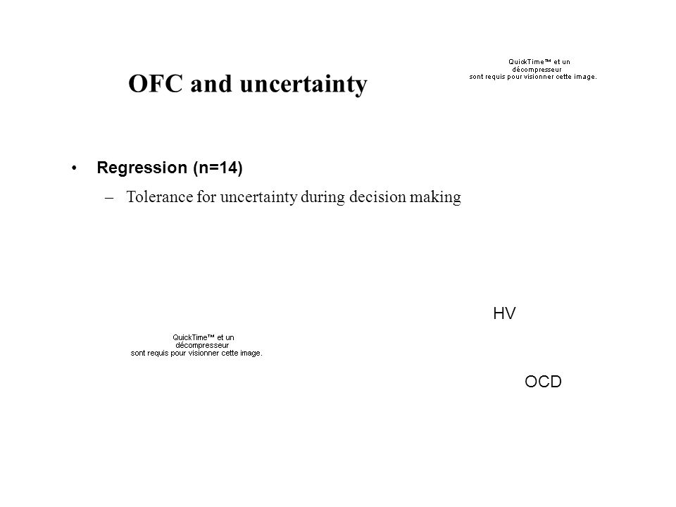 OFC and uncertainty Regression (n=14) –Tolerance for uncertainty during decision making HV OCD