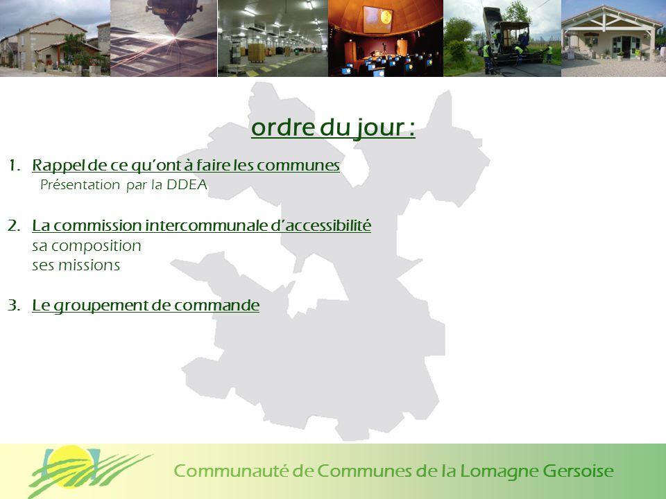 Communauté de Communes de la Lomagne Gersoise ordre du jour : 1.Rappel de ce quont à faire les communes Présentation par la DDEA 2.La commission inter