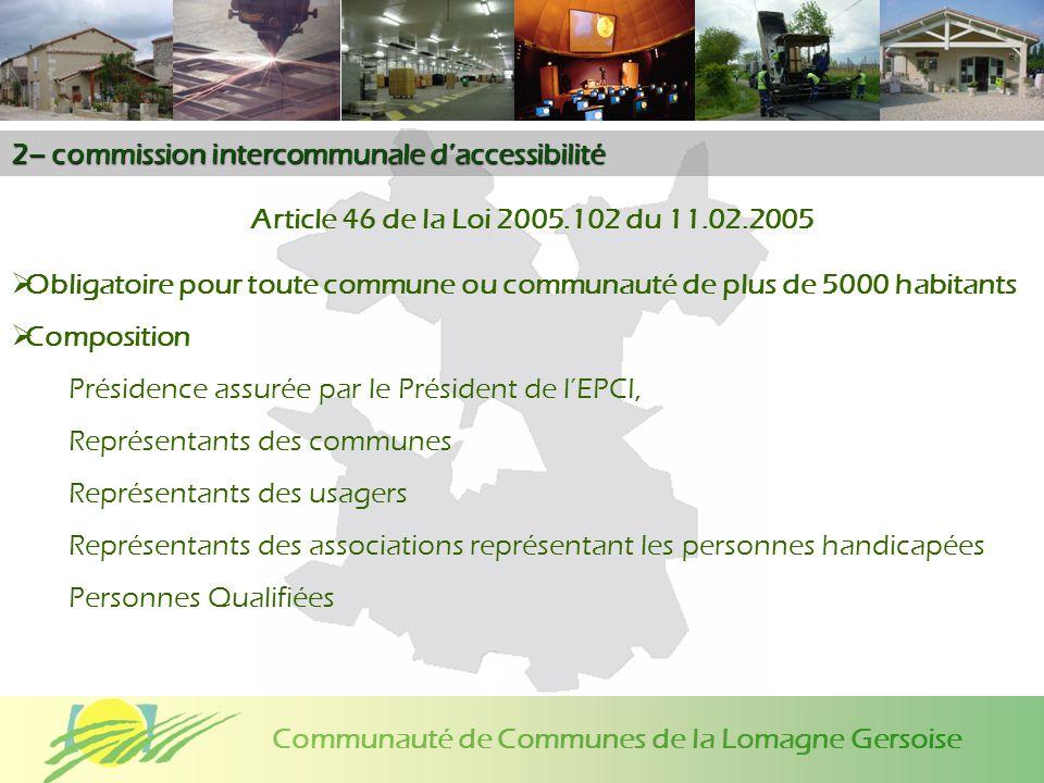 Communauté de Communes de la Lomagne Gersoise 2– commission intercommunale daccessibilité Article 46 de la Loi 2005.102 du 11.02.2005 Obligatoire pour