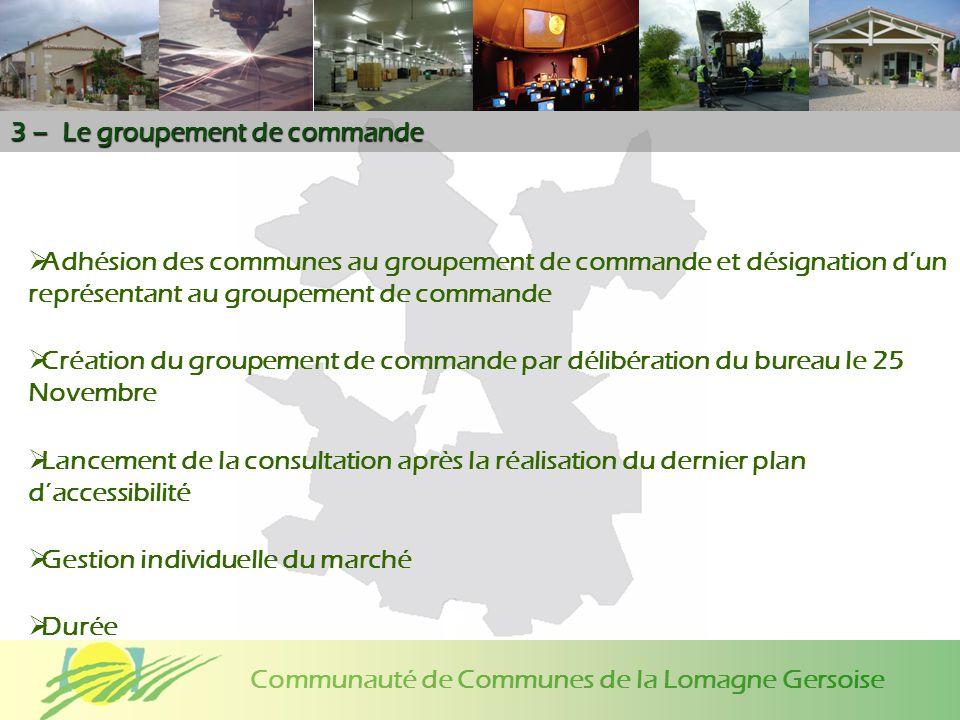Communauté de Communes de la Lomagne Gersoise 3 – Le groupement de commande Adhésion des communes au groupement de commande et désignation dun représe