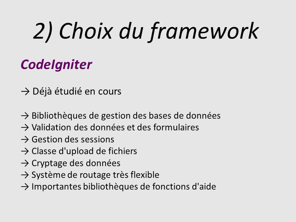 2) Choix du framework CodeIgniter Déjà étudié en cours Bibliothèques de gestion des bases de données Validation des données et des formulaires Gestion