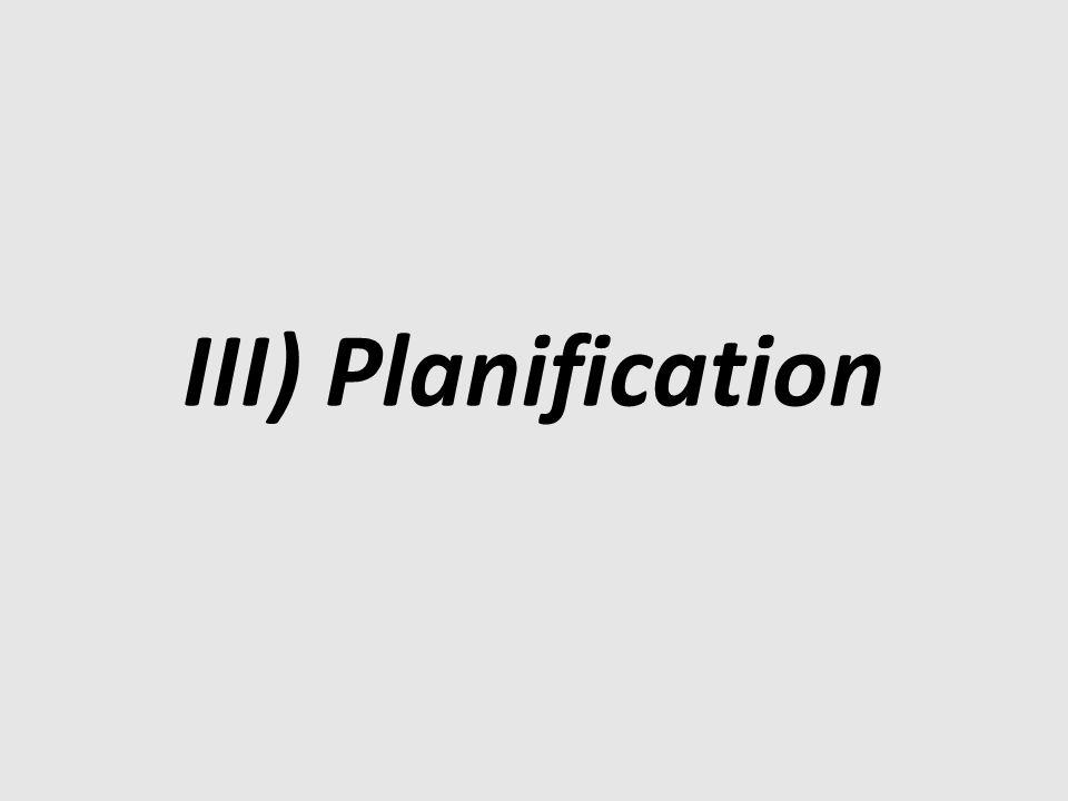 III) Planification