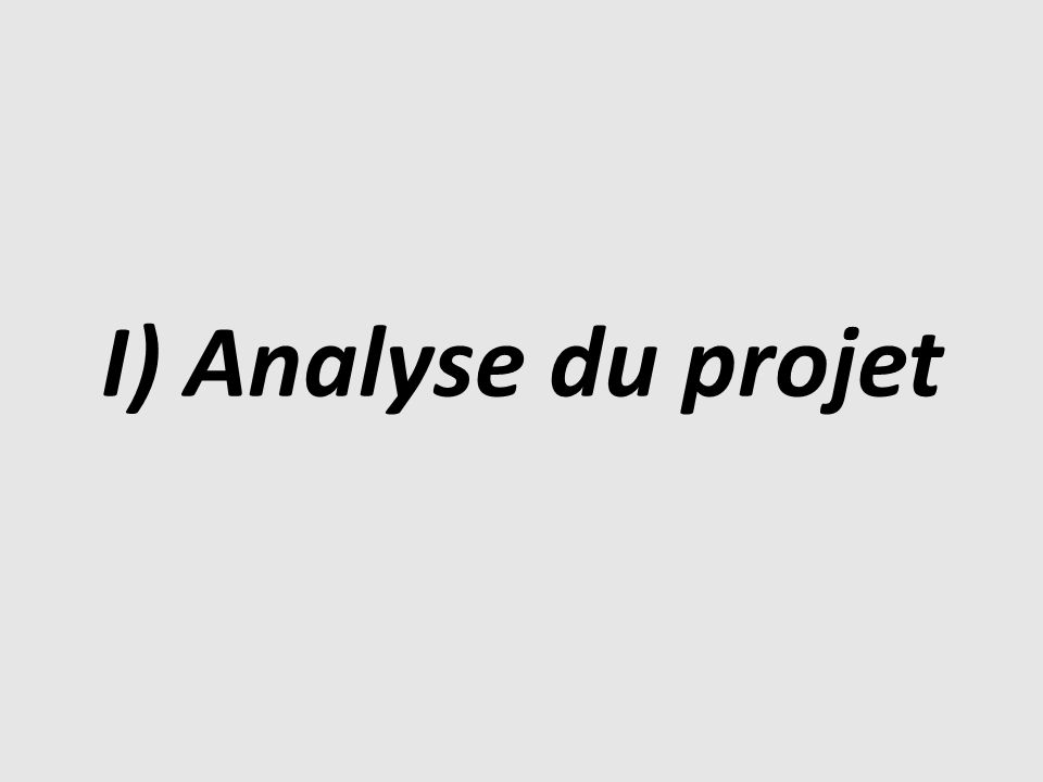 I) Analyse du projet
