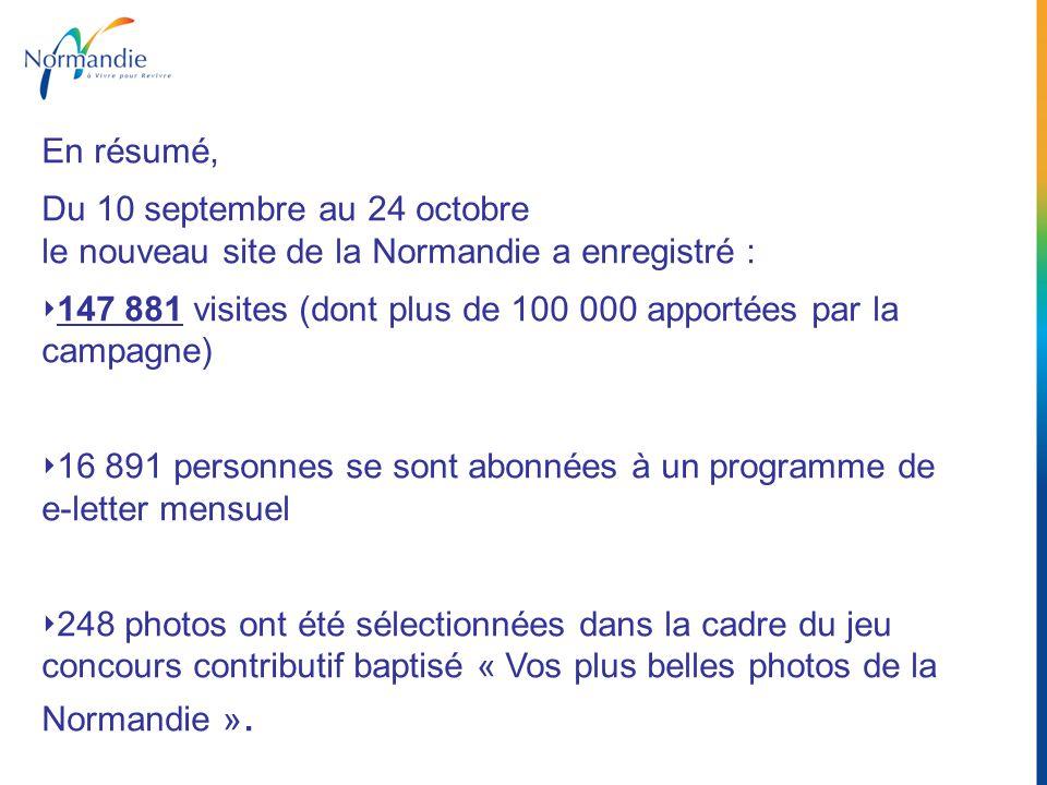 En résumé, Du 10 septembre au 24 octobre le nouveau site de la Normandie a enregistré : 147 881 visites (dont plus de 100 000 apportées par la campagn
