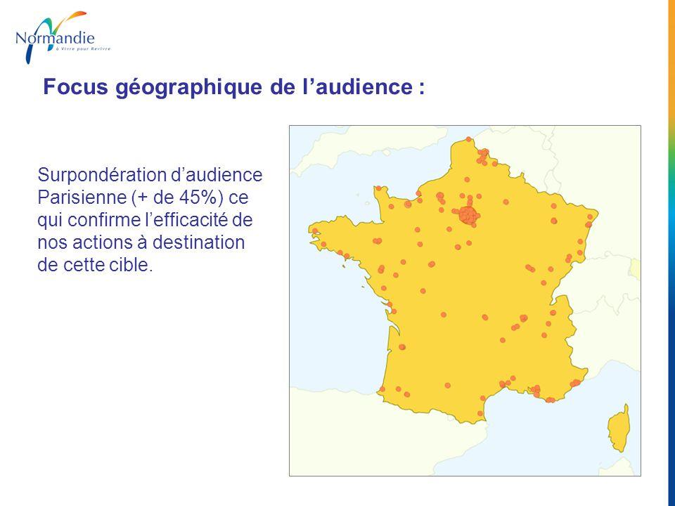 Surpondération daudience Parisienne (+ de 45%) ce qui confirme lefficacité de nos actions à destination de cette cible. Focus géographique de laudienc