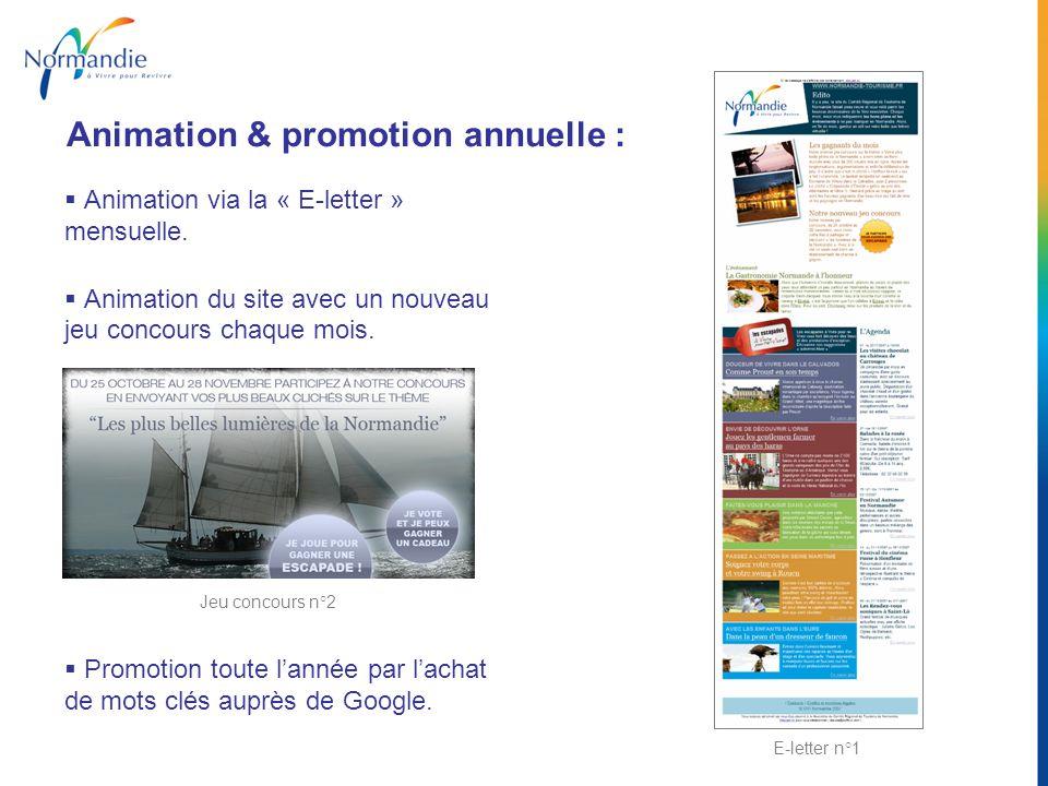 Animation via la « E-letter » mensuelle. Animation du site avec un nouveau jeu concours chaque mois. Promotion toute lannée par lachat de mots clés au