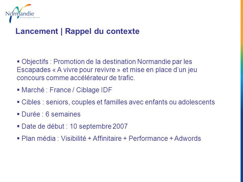 Objectifs : Promotion de la destination Normandie par les Escapades « A vivre pour revivre » et mise en place dun jeu concours comme accélérateur de t