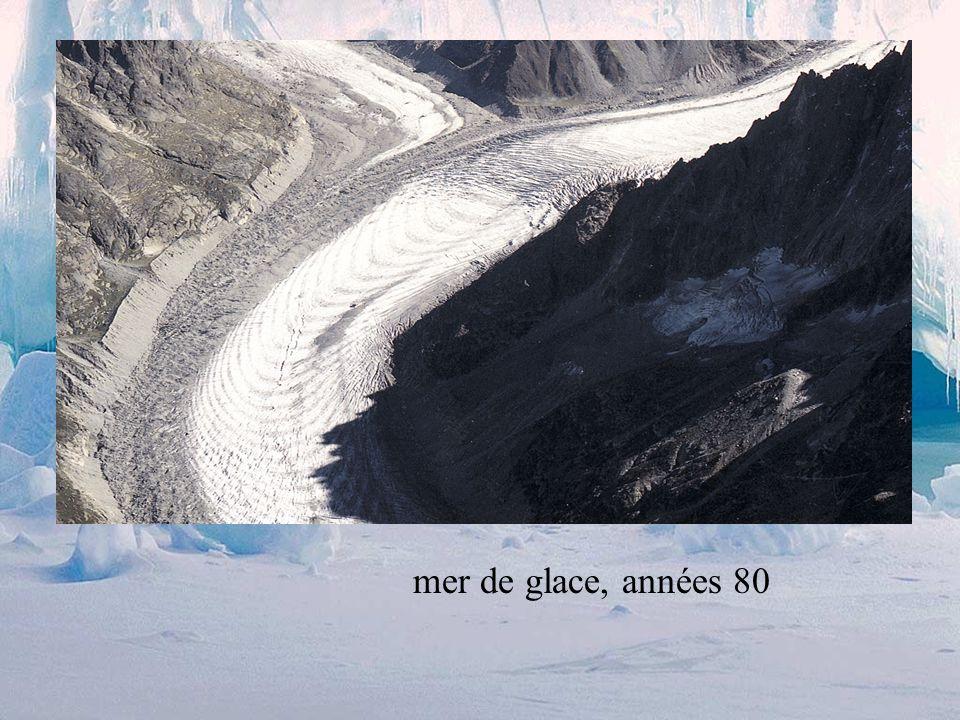 Ecoulement de la glace la glace se comporte comme un liquide visqueux (rhéologie non-newtonienne ) sous son propre poids, elle commence à fluer elle s étale sous l influence de la gravité cet écoulement est très visible et mesurable .