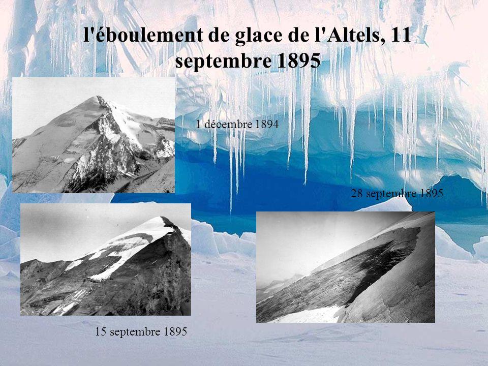 Les chutes de glace sur des pentes trop raides (par dessus des falaises), la glace décroche périodiquement, en fonction de: la quantité de glace accum