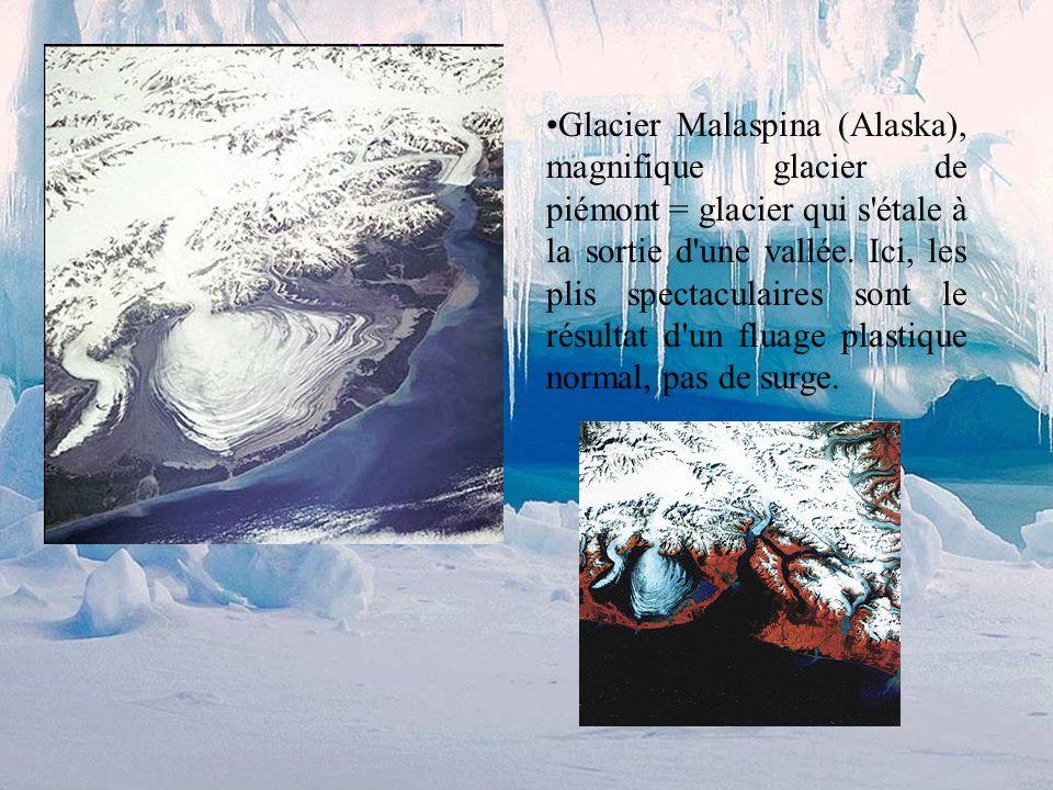 Glacier Susitna (Alaska), les plis (marqués par moraines médianes déformées) sont le résultat de mouvements rapides = surges des différentes branches