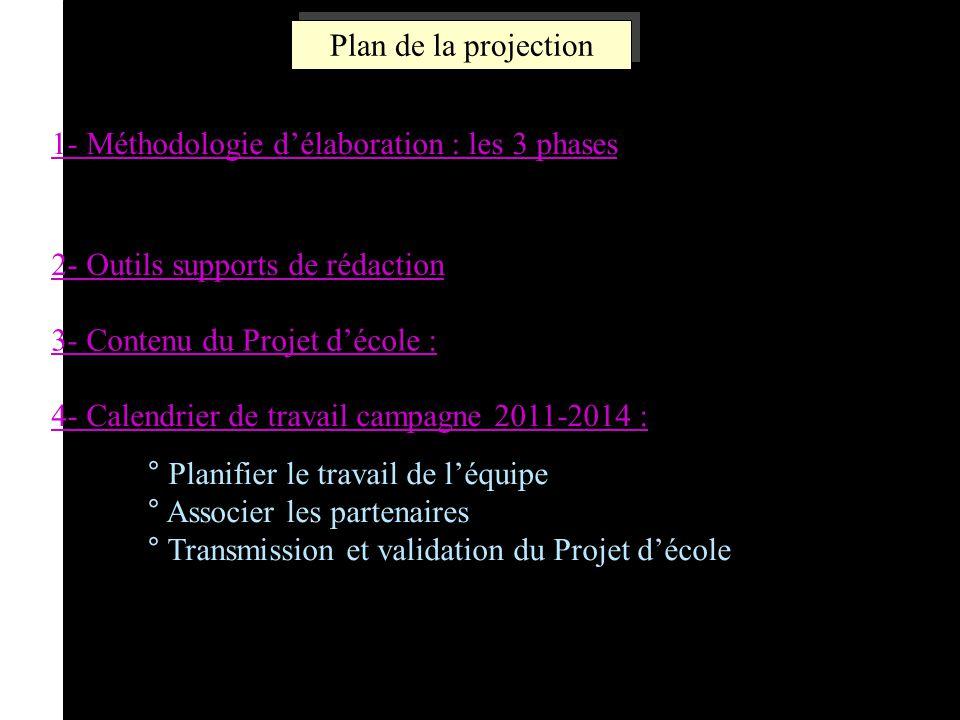 3 Plan de la projection 1- Méthodologie délaboration : les 3 phases 2- Outils supports de rédaction 3- Contenu du Projet décole : 4- Calendrier de tra