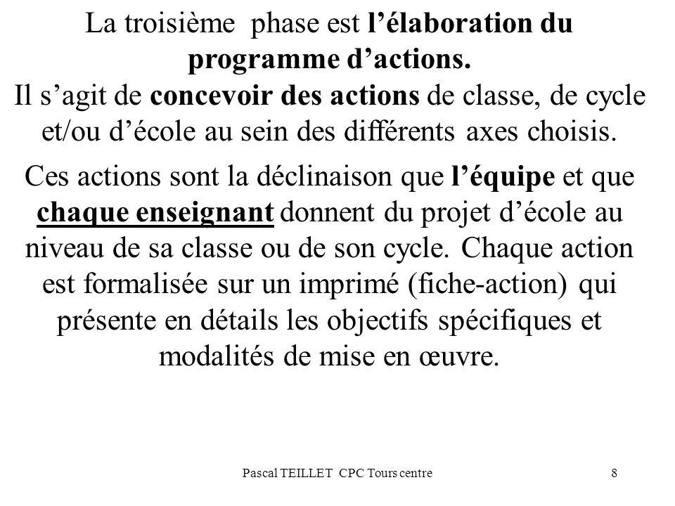 8 La troisième phase est lélaboration du programme dactions. Il sagit de concevoir des actions de classe, de cycle et/ou décole au sein des différents