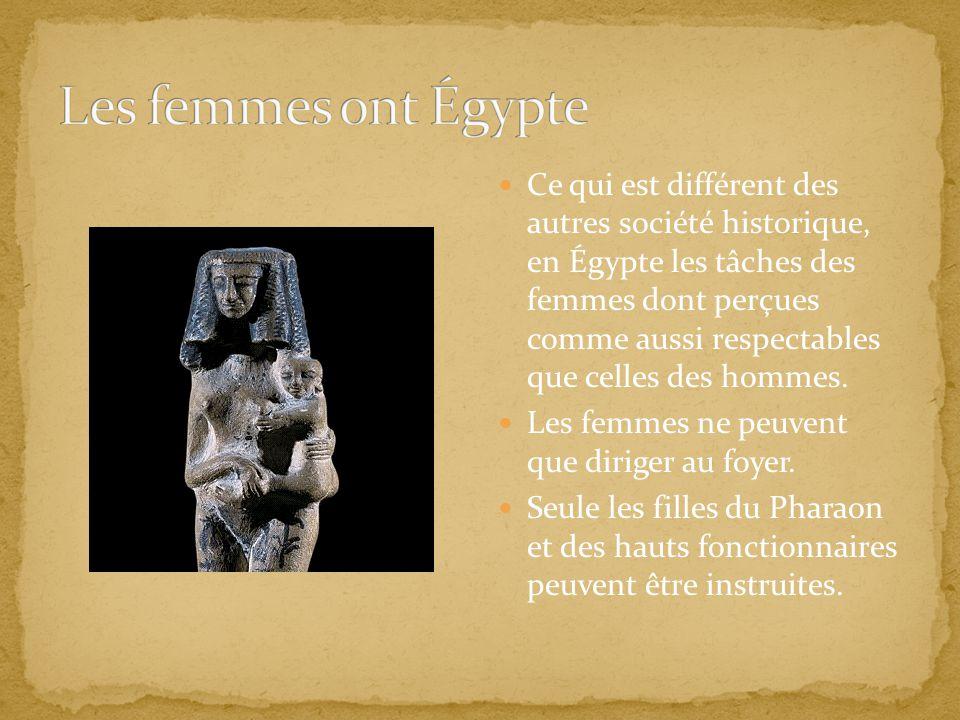 Ce qui est différent des autres société historique, en Égypte les tâches des femmes dont perçues comme aussi respectables que celles des hommes. Les f