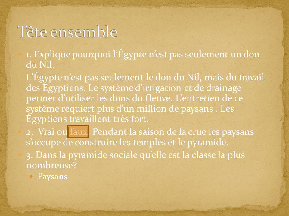 1. Explique pourquoi lÉgypte nest pas seulement un don du Nil. LÉgypte nest pas seulement le don du Nil, mais du travail des Égyptiens. Le système dir