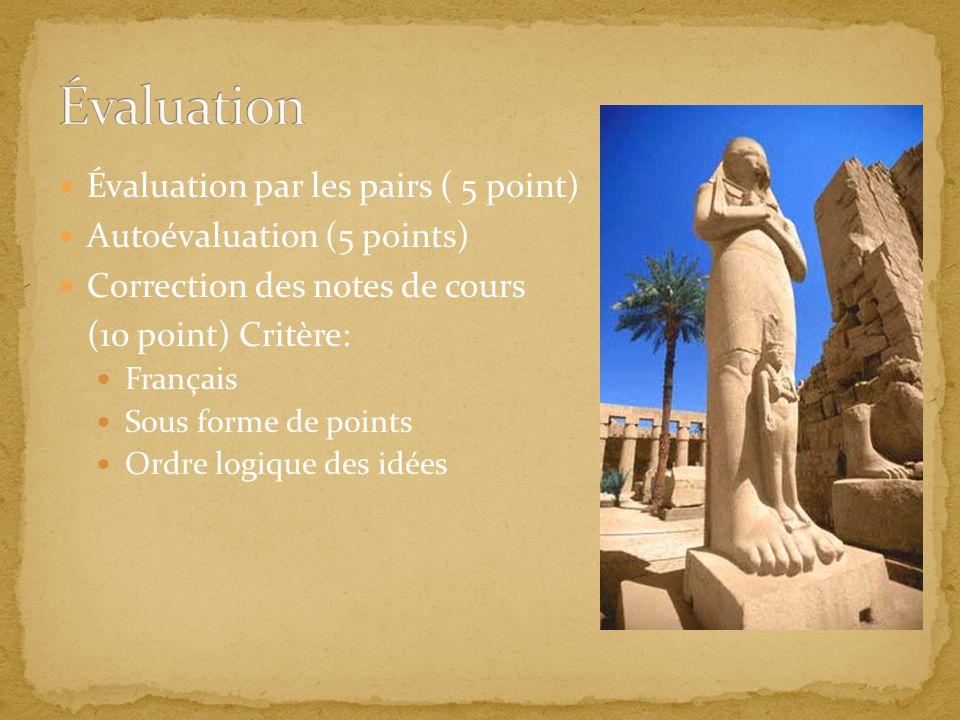 Évaluation par les pairs ( 5 point) Autoévaluation (5 points) Correction des notes de cours (10 point) Critère: Français Sous forme de points Ordre lo