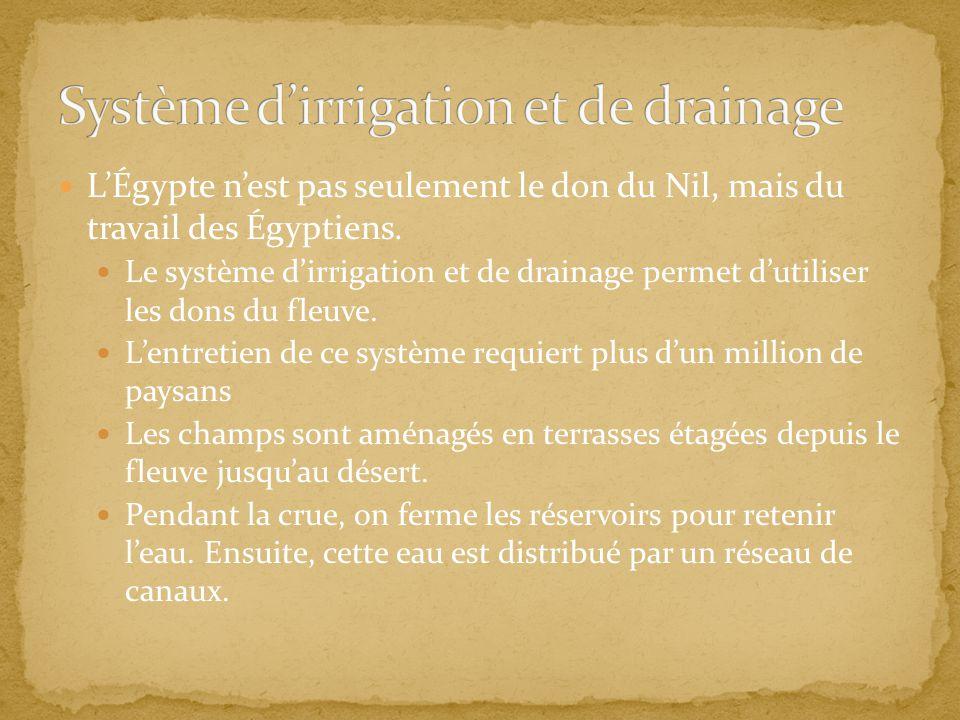 LÉgypte nest pas seulement le don du Nil, mais du travail des Égyptiens. Le système dirrigation et de drainage permet dutiliser les dons du fleuve. Le