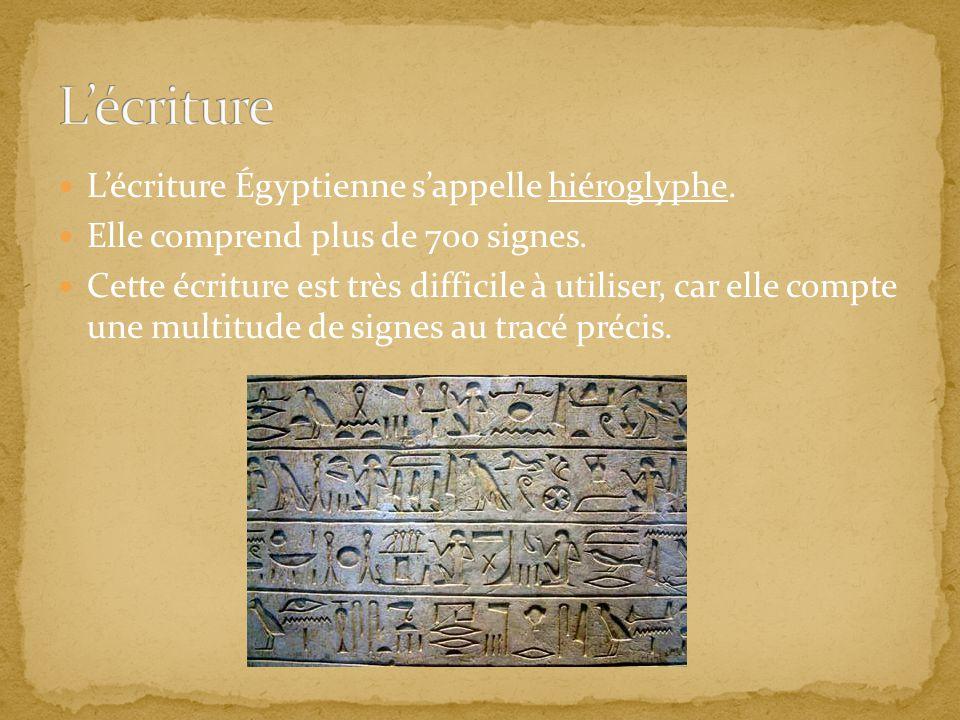 Lécriture Égyptienne sappelle hiéroglyphe. Elle comprend plus de 700 signes. Cette écriture est très difficile à utiliser, car elle compte une multitu