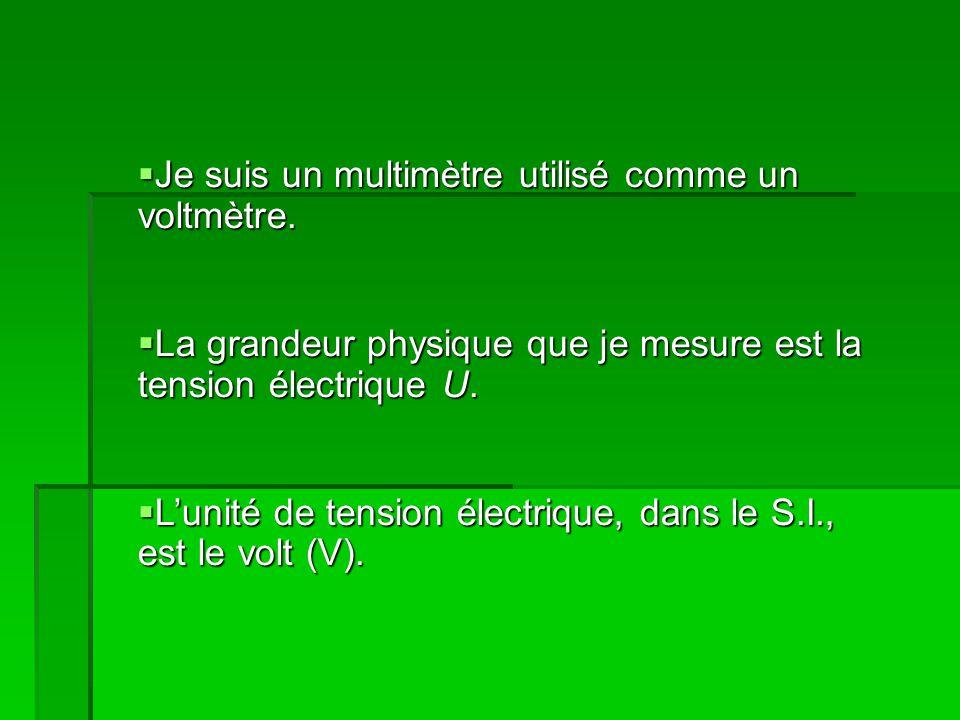 Je suis un multimètre utilisé comme un voltmètre. Je suis un multimètre utilisé comme un voltmètre.