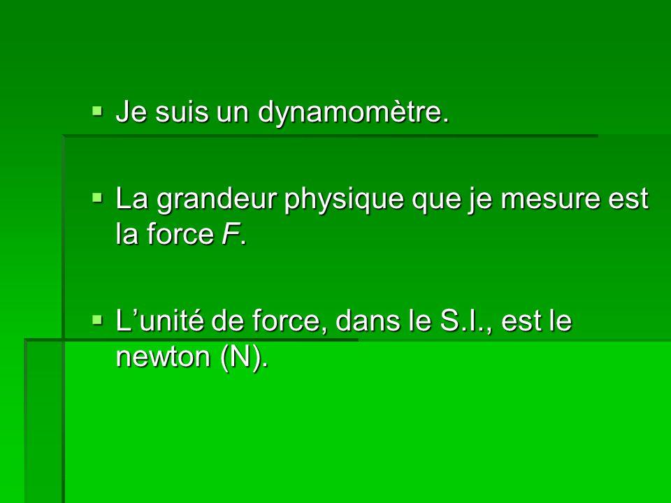 Je suis un dynamomètre. Je suis un dynamomètre. La grandeur physique que je mesure est la force F.