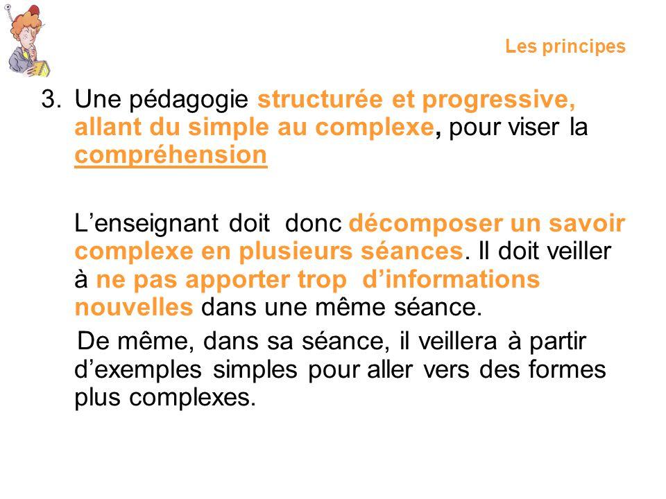 3.Une pédagogie structurée et progressive, allant du simple au complexe, pour viser la compréhension Lenseignant doit donc décomposer un savoir comple