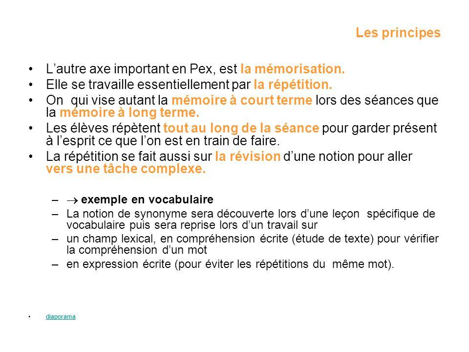 Les principes Lautre axe important en Pex, est la mémorisation. Elle se travaille essentiellement par la répétition. On qui vise autant la mémoire à c