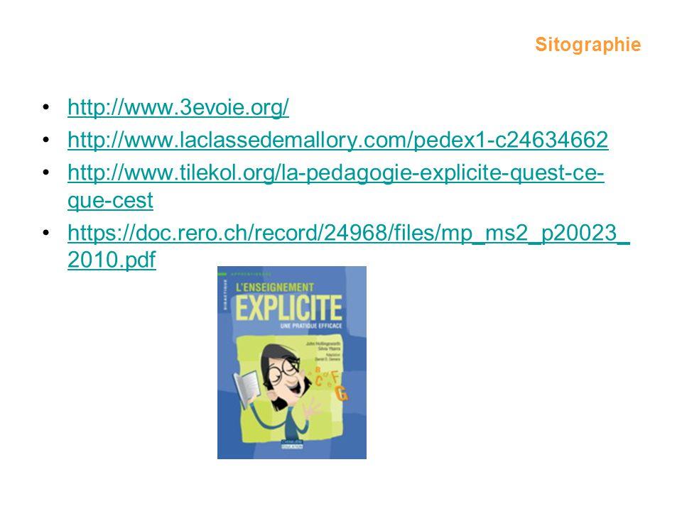 Sitographie http://www.3evoie.org/ http://www.laclassedemallory.com/pedex1-c24634662 http://www.tilekol.org/la-pedagogie-explicite-quest-ce- que-cesth