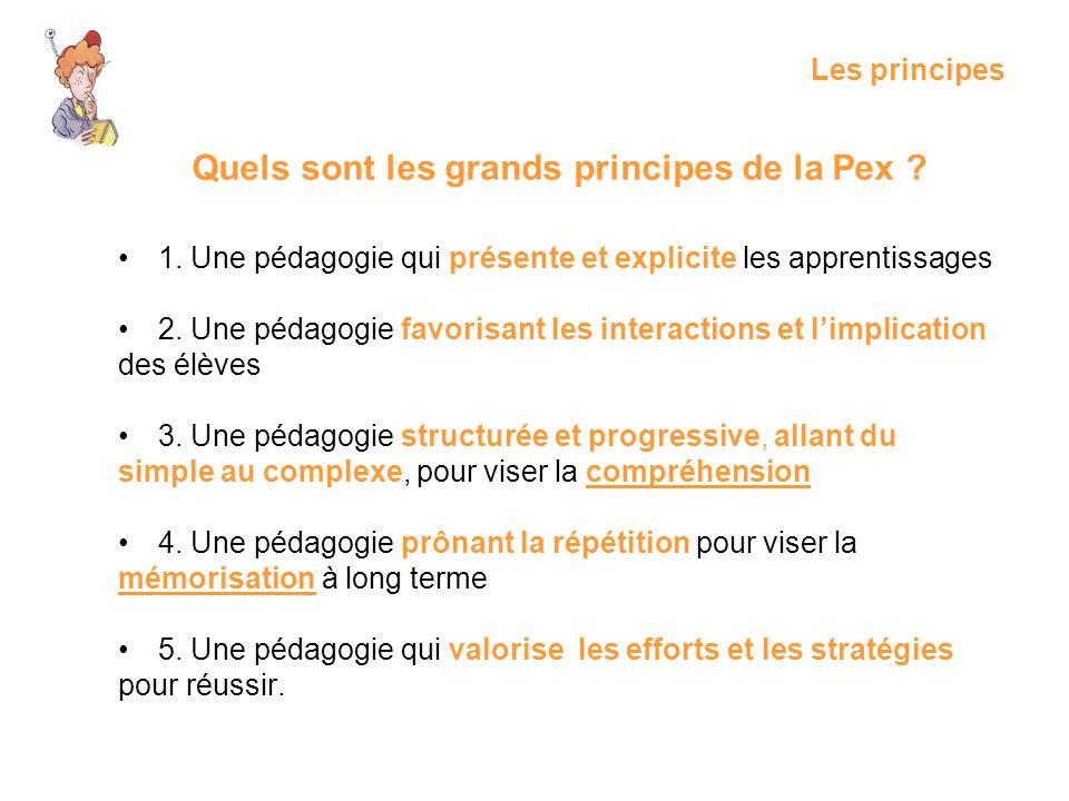 Les principes 1. Une pédagogie qui présente et explicite les apprentissages 2. Une pédagogie favorisant les interactions et limplication des élèves 3.