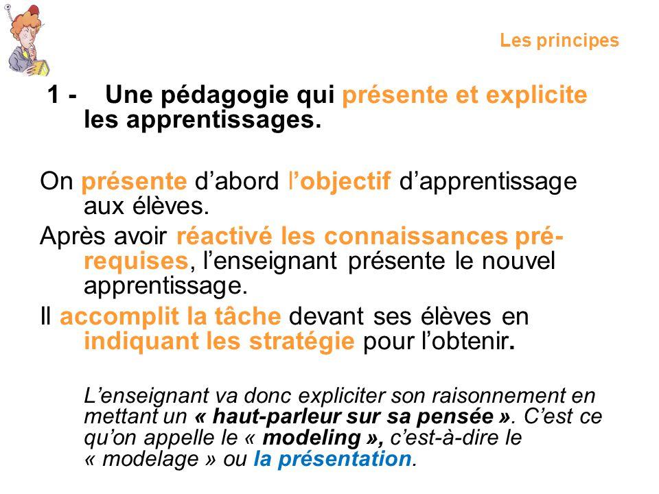 Les principes 1 - Une pédagogie qui présente et explicite les apprentissages. On présente dabord lobjectif dapprentissage aux élèves. Après avoir réac