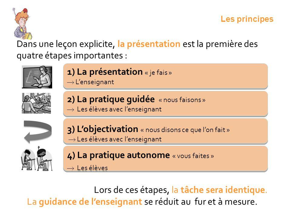Dans une leçon explicite, la présentation est la première des quatre étapes importantes : 1) La présentation « je fais » Lenseignant 1) La présentatio