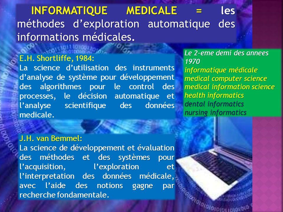 INFORMATIQUE MEDICALE = les méthodes dexploration automatique des informations médicales.