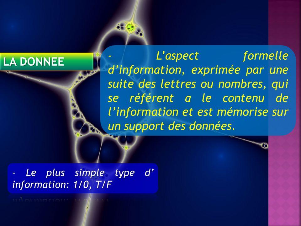 LA DONNEE - Laspect formelle dinformation, exprimée par une suite des lettres ou nombres, qui se référent a le contenu de linformation et est mémorise sur un support des données.