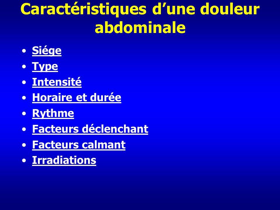 Caractéristiques dune douleur abdominale Siége Type Intensité Horaire et durée Rythme Facteurs déclenchant Facteurs calmant Irradiations