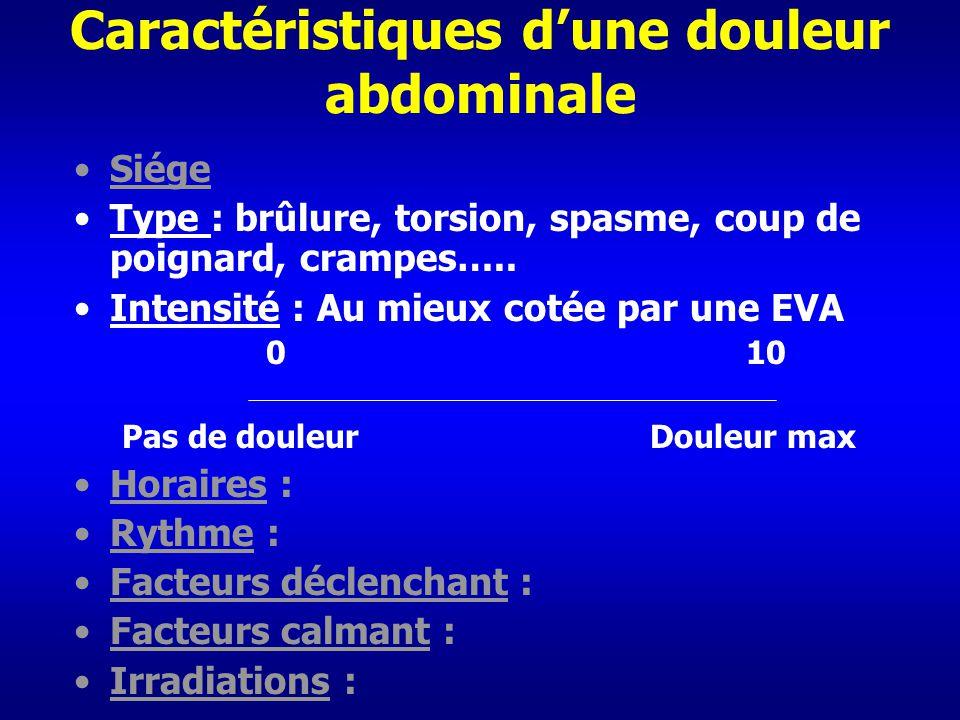 Caractéristiques dune douleur abdominale Siége Type : brûlure, torsion, spasme, coup de poignard, crampes….. Intensité : Au mieux cotée par une EVA 01