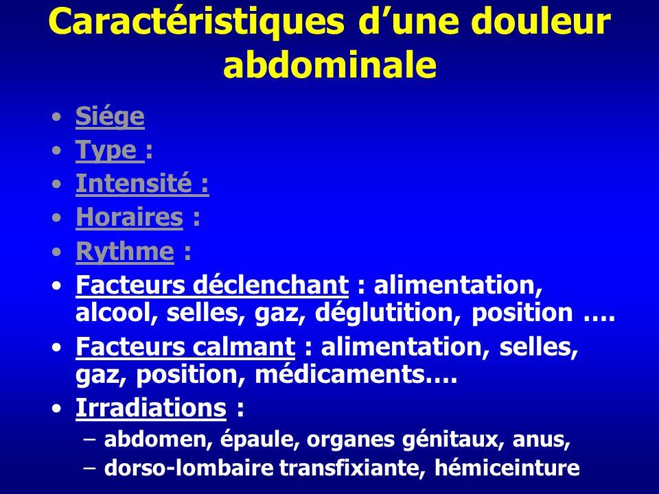 Caractéristiques dune douleur abdominale Siége Type : Intensité : Horaires : Rythme : Facteurs déclenchant : alimentation, alcool, selles, gaz, déglut