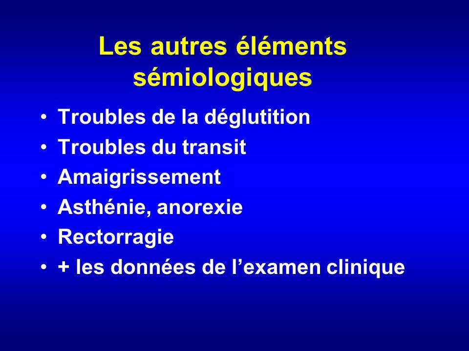Les autres éléments sémiologiques Troubles de la déglutition Troubles du transit Amaigrissement Asthénie, anorexie Rectorragie + les données de lexame