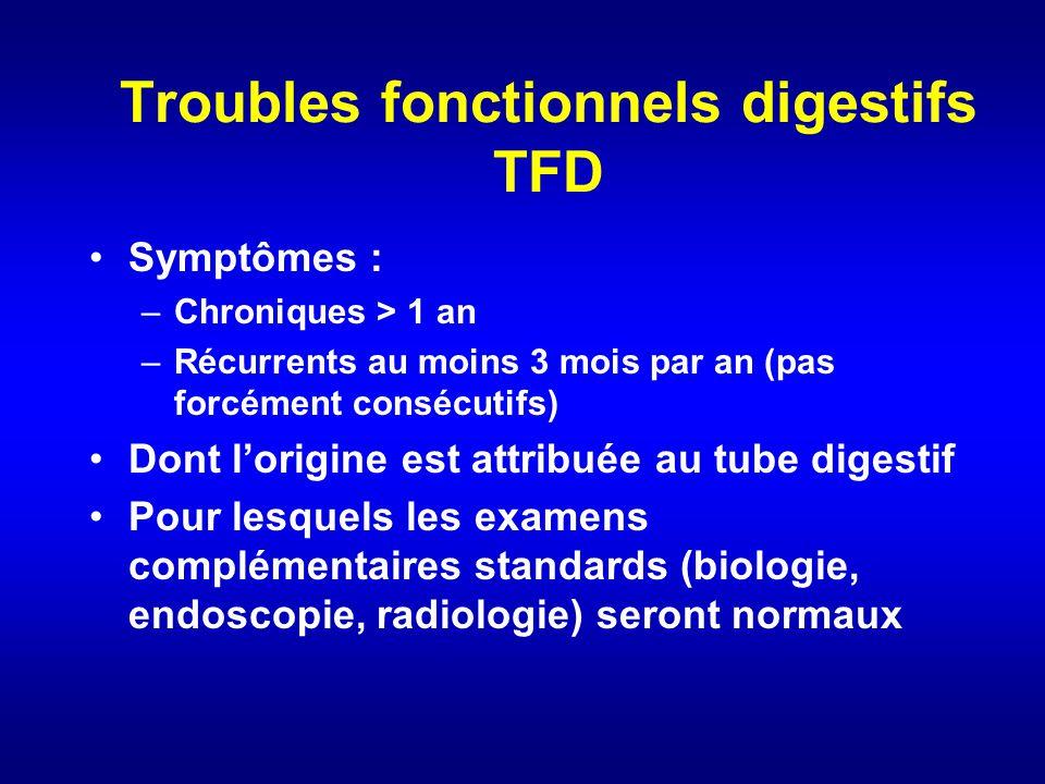 Troubles fonctionnels digestifs TFD Symptômes : –Chroniques > 1 an –Récurrents au moins 3 mois par an (pas forcément consécutifs) Dont lorigine est at