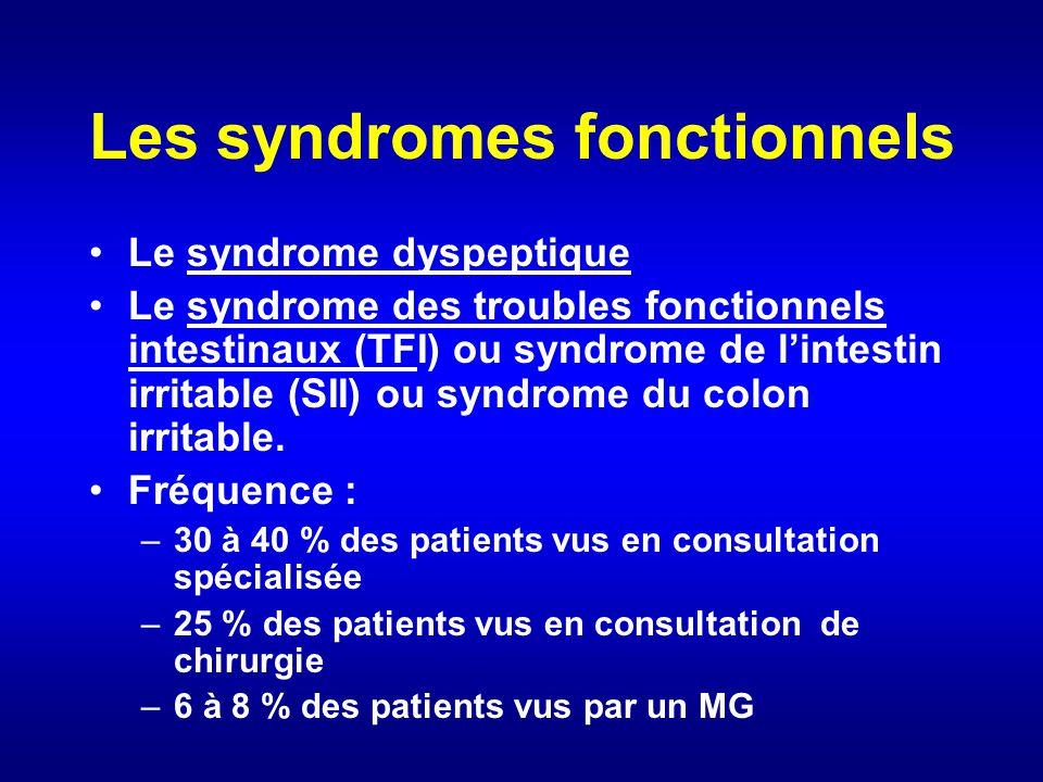 Les syndromes fonctionnels Le syndrome dyspeptique Le syndrome des troubles fonctionnels intestinaux (TFI) ou syndrome de lintestin irritable (SII) ou