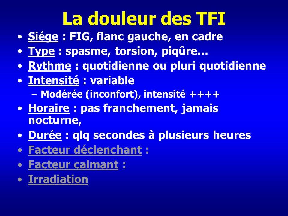 La douleur des TFI Siége : FIG, flanc gauche, en cadre Type : spasme, torsion, piqûre… Rythme : quotidienne ou pluri quotidienne Intensité : variable